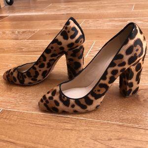 JCrew Collection Calf's Hair Leopard Print Heels 6